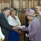"The Queen meets holders of The Elizabeth Cross.  The Elizabeth Cross is a commemorative emblem given to the next of kin of members of the British Armed Forces killed in action or as a result of a terrorist attack after the Second World War<br/><a href=""gallery/royal-visit-3-july-14/106/add/#comments""Add comment/a"